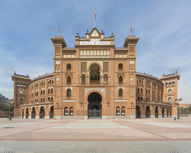 Madrid, Spain - March 12, 2015: View of an empty Plaza de Toros de Las Ventas, Madrid, Spain during the Corona virus crisis.