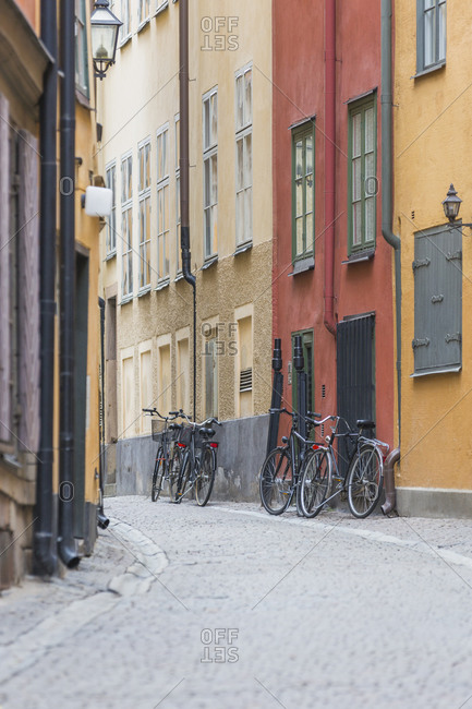 View along an empty Gamla Stan, Stockholm, Sweden during the Corona virus crisis.