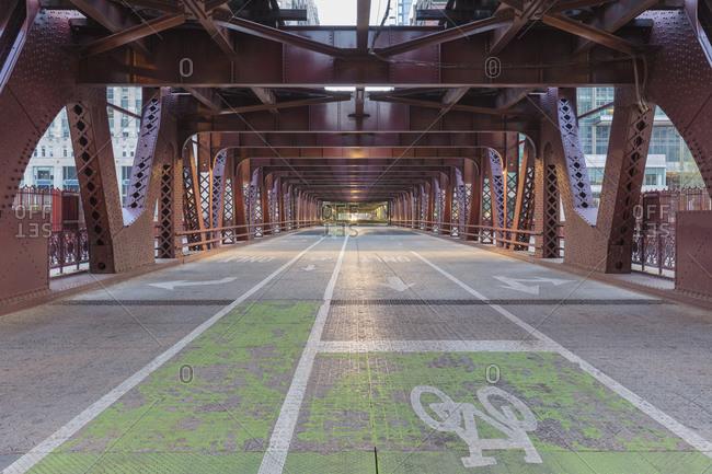 View along empty Wells Street Bridge, Chicago, Illinois, USA during the Corona virus crisis.