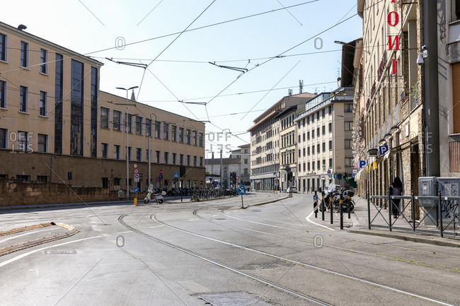 Florence, Italy - April 26, 2020: View down an empty street in Florence, Italy during the Corona virus crisis.