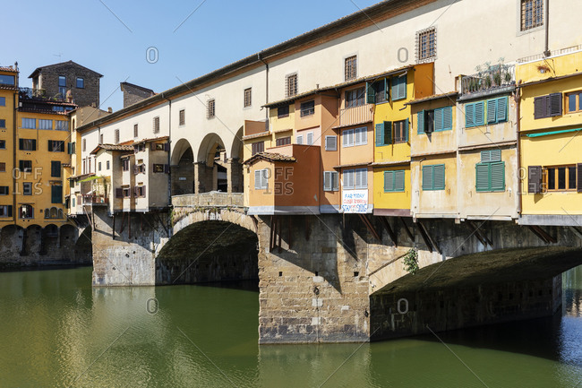 View of empty Ponte Vecchio River Arno in Florence, Italy during the Corona virus crisis.