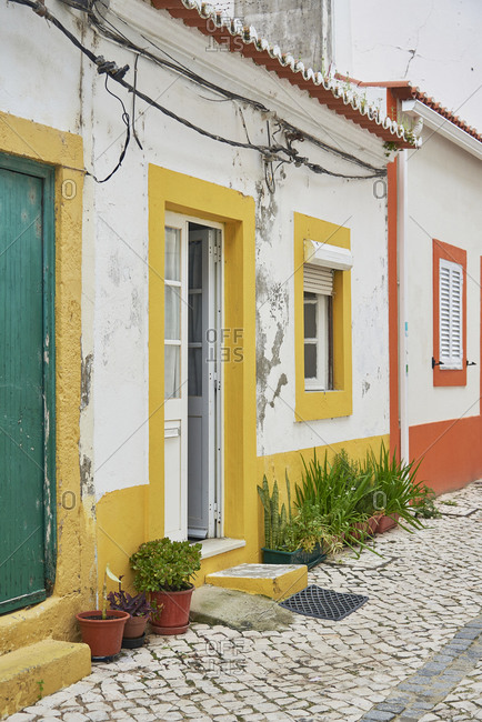 Home entrance with colorful trim, Alcochete, Portugal