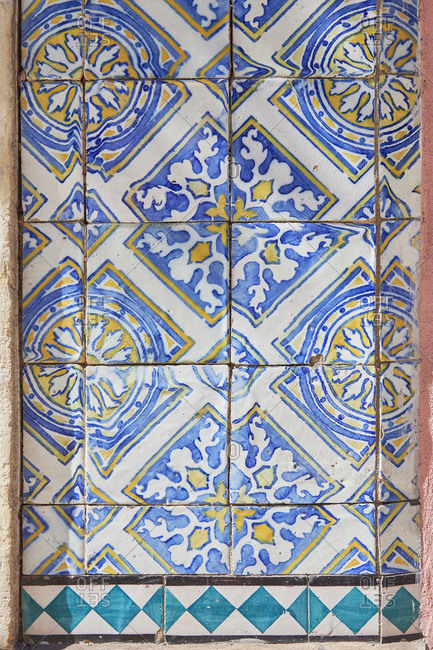 Close-Up of hand painted decorative tiles, Lisbon, Portugal