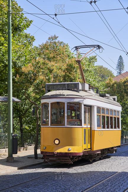 Tramway in the Lapa neighborhood, Lisbon, Portugal
