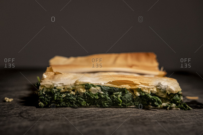 Close up of a Spanakopita Greek pastry