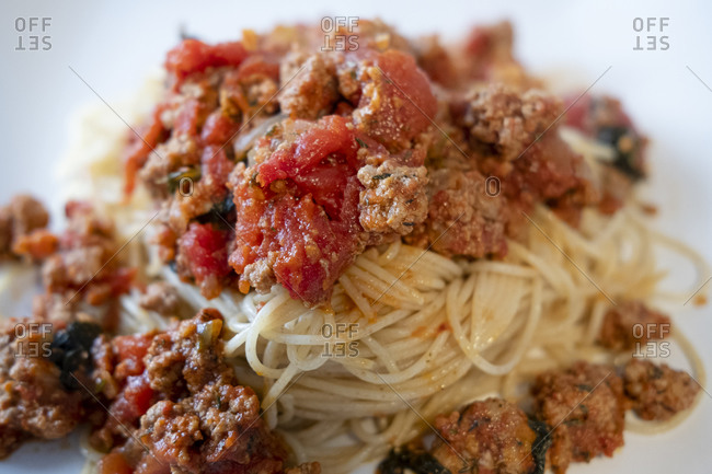 Spaghetti Bolognese dish close up