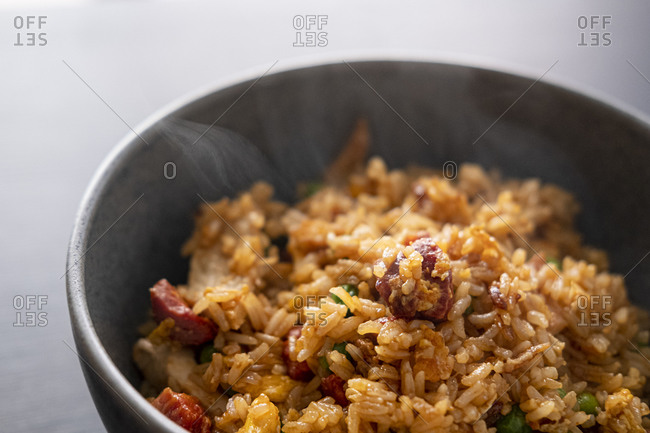 Fried rice with turkey and chorizo