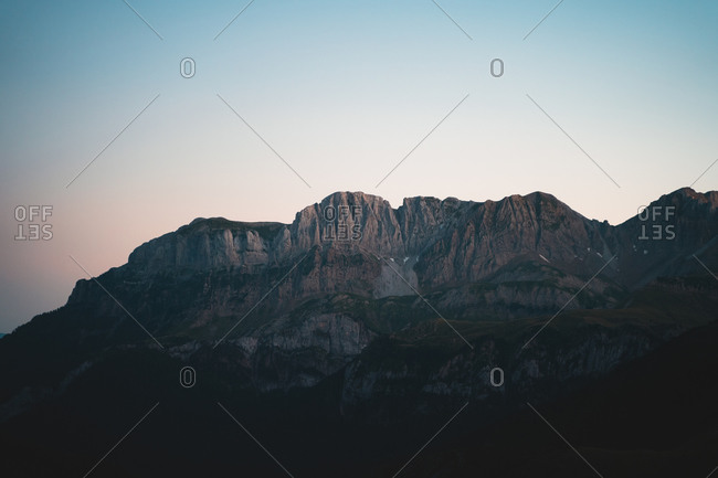 Rugged mountain range in the Pyrenees Mountains after the sunset