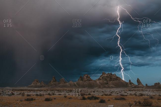 Lightning strikes the tufa formations at Trona Pinnacles, California