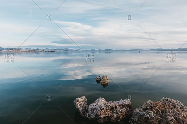 Calm winter morning with cloud reflections at Mono Lake, California