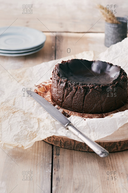 Chocolate basque burnt cheesecake ready to serve