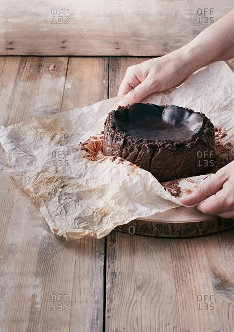 Chocolate basque burnt cheesecake or San Sebastian cheesecake ready to serve