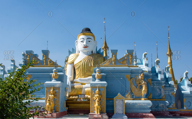 Inle, Yangon Region, Myanmar - January 17, 2020: A beautiful blue temple matching with the blue sky