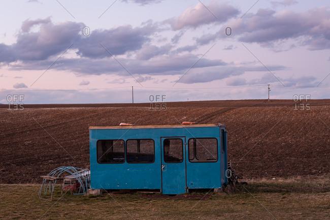 Blue storage cart in Turiec, Slovakia