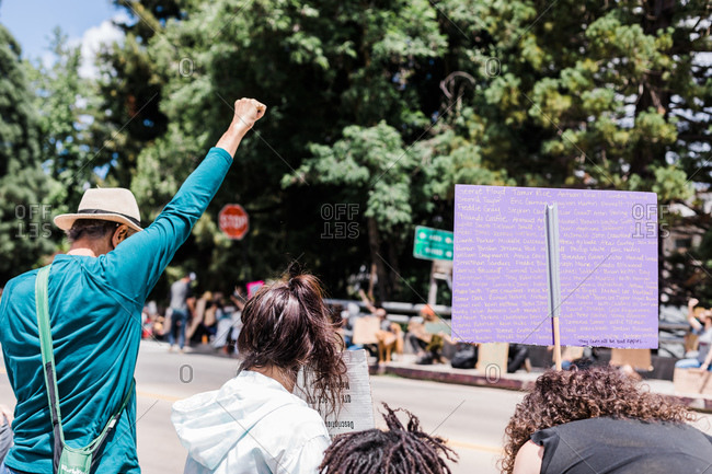 Nevada City, CA, United States - June 7, 2020: Peaceful Demonstration in Rural Small Town, California BLM Protest