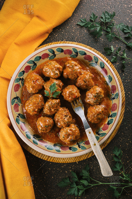Delicious hot stew of homemade meatballs seasoned with spices