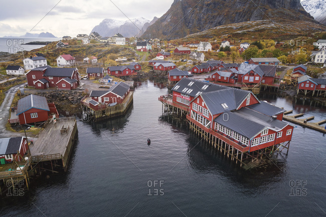 Nordland, Norway - October 8, 2019: Surroundings of a Norwegian village