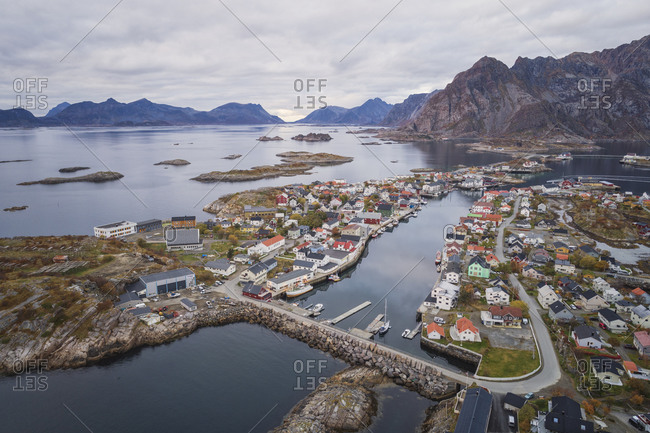 Henningsvaer, Nordland, Norway - October 7, 2019: Fishing village on the Lofoten Islands from an aerial point of view