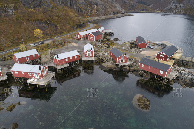 Cabins and surroundings of Nusfjord, typical Norwegian village