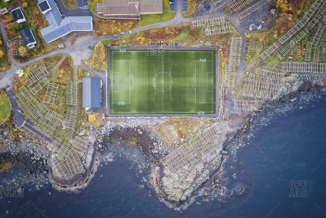 Reine football field from aerial view