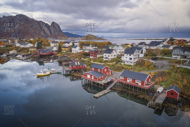 Reine, Nordland, Norway - October 8, 2019: Village environment from an aerial point of view
