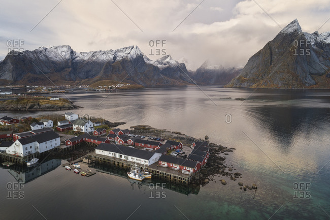 Reine, Nordland, Norway - October 9, 2019: Village environment from an aerial point of view