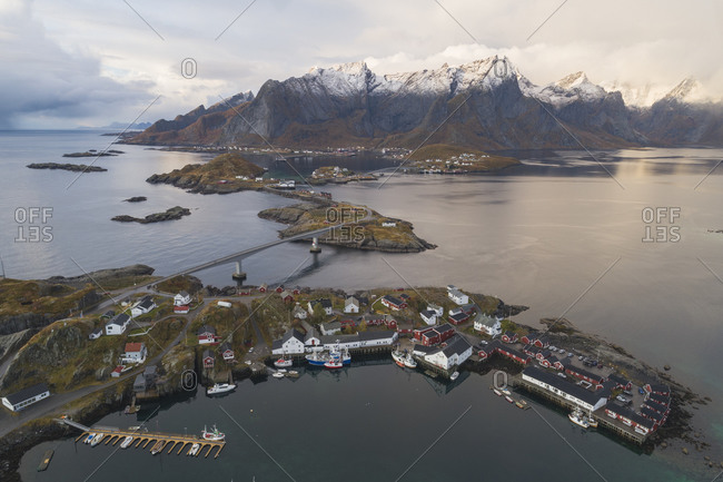 Reine village environment from an aerial point of view