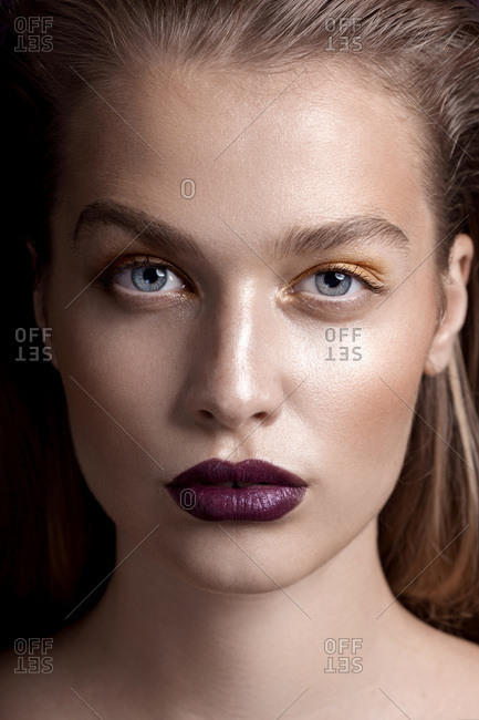 Close-up beauty portrait of young woman