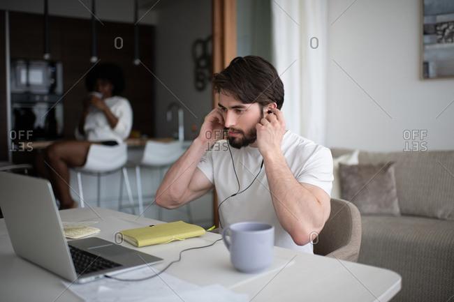 Man preparing to do remote job