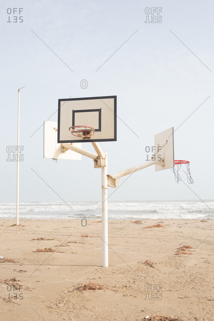 Basketball court in the middle of the beach