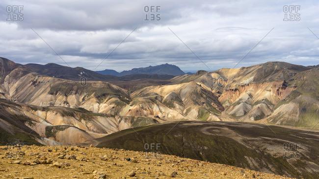 Iceland's highlands volcanic mossy hill summer landscape