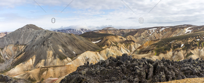 Iceland's highlands iconic volcanic rock and mossy hills panorama