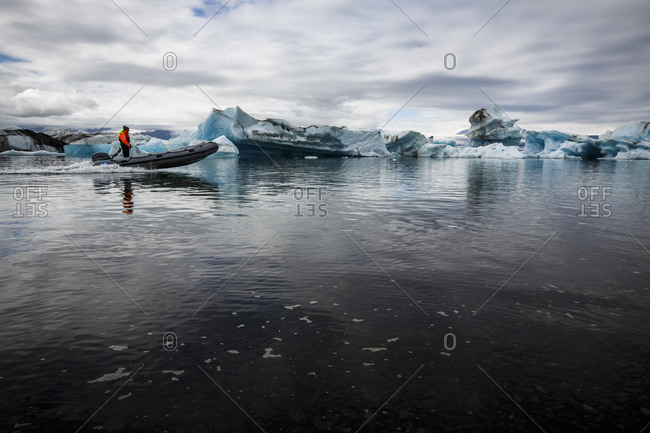 Vik, Iceland - July 22, 2018: Icebergs at Jokulsarlon Glacier Lagoon in southern Iceland.