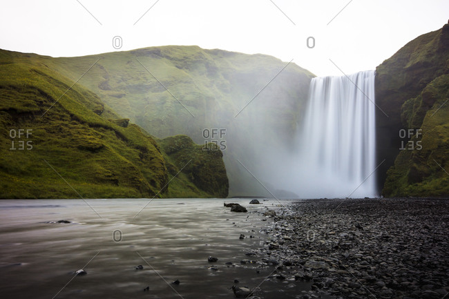A long exposure image of Skogafoss waterfall in southern Iceland.