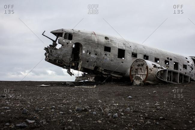Vik, Iceland - July 21, 2018: The fuselage of a crashed US Navy DC-3 plane near Vik, Iceland.