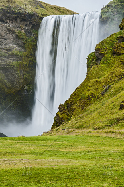 The majestic waterfall Skogafoss in the south of Iceland