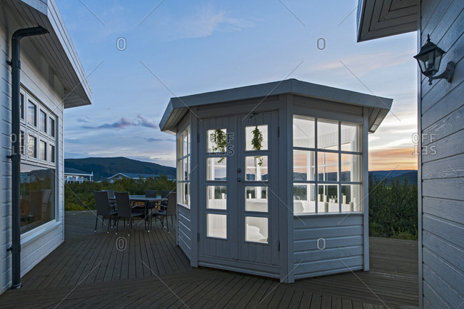 Small pavilion at holiday villa in Iceland