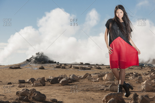 Beautiful woman posing for a fashion shoot at geothermal area