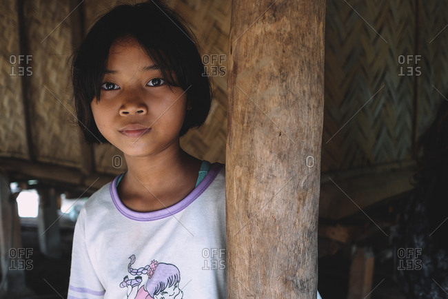 Chiang Mai, Thailand - July 3, 2020: Portrait of a girl belonging to Thai tribe.