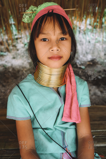 Chiang Mai, Thailand - July 3, 2020: Portrait a beautiful girl from the giraffe women tribe.