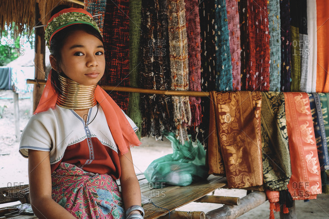 Chiang Mai, Thailand - July 3, 2020: Portrait a beautiful girl from the giraffe women tribe.