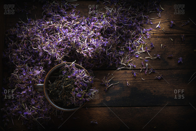 Dried Fireweed Tea Rustic Background