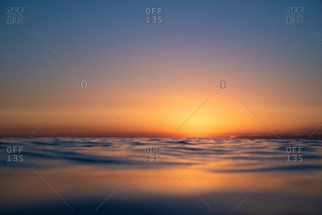 Amazing sunset over calm Adriatic sea water, Veli Rat, Dugi Otok