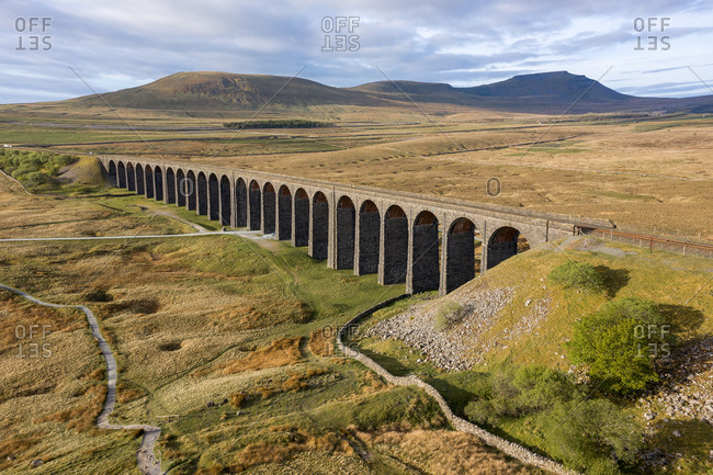 Aerial of The Ribblehead Viaduct a Grade II listed structure.