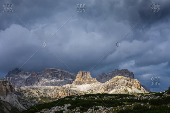 The mountain peaks Croda dei Rondoi and Torre dei Scarper, Dolomites.