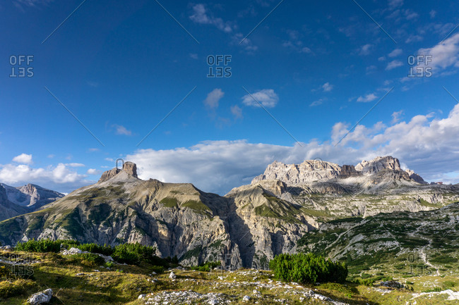 The mountain peaks Croda dei Rondoi ,right and Torre dei Scarper