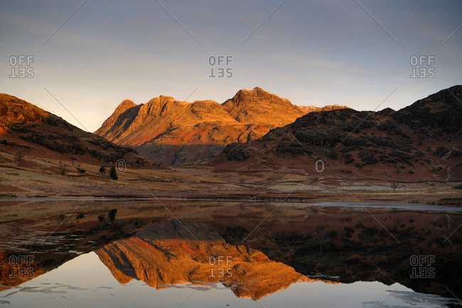 Blea Tarn during a winter sunrise