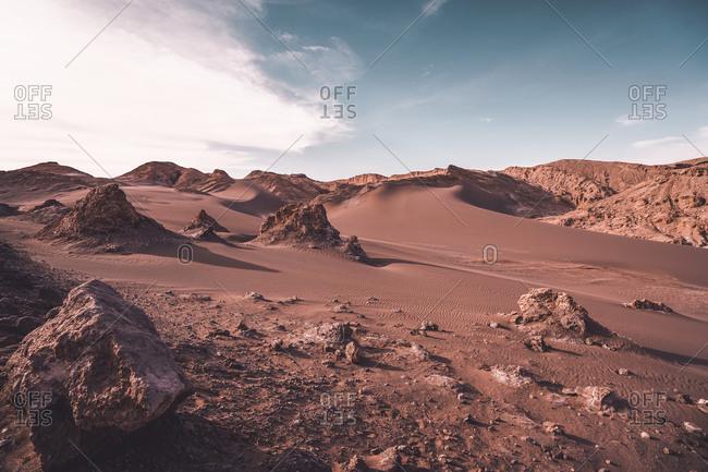 Extreme mars-like arid landscape in Atacama Desert