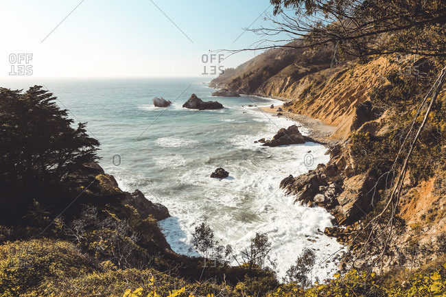 Landscape image of Big Sur coastline short before sunset