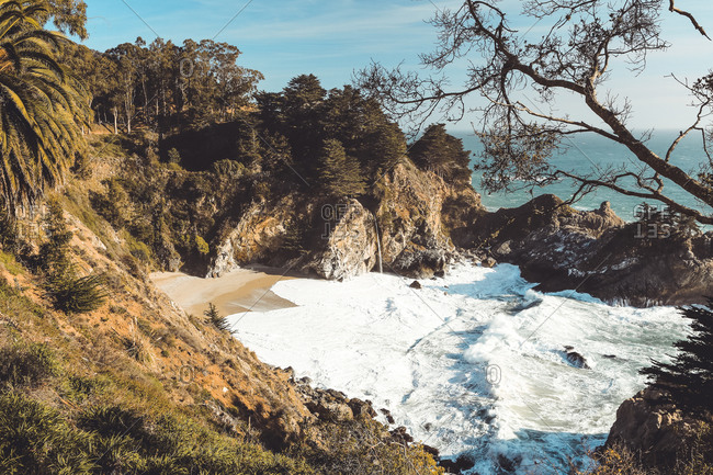 McWay Falls on famous California Beach in Julia Pfeiffer State Park